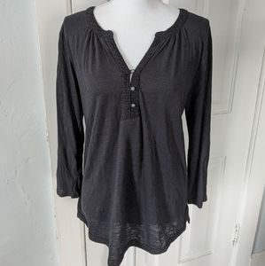 Lucky Brand Eyelet Embroidered Trim 3/4 Sleeve Top